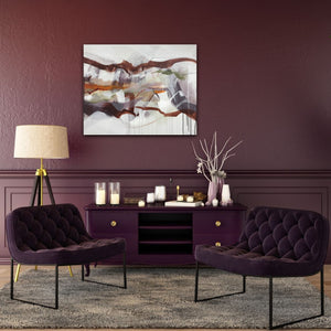 "Abstract expressionist art on a plum colored wall in modern design living room - modern artwork ""Loft IV"". A modern acrylic painting by abstract artist Anja Stemmer. Visit my Picture Shop for affordable art online: Buy abstract paintings, modern acrylic paintings and works of abstract art on canvas or paper online. My high quality abstract art designs are hand painted."