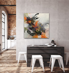 "Abstract expressionist art in modern loft dining room - modern artwork ""Verve I"" A modern acrylic painting by abstract artist Anja Stemmer. Visit my Picture Shop for affordable art online: Buy abstract paintings, modern acrylic paintings and works of abstract art on canvas or paper online. My high quality abstract art designs are hand painted."