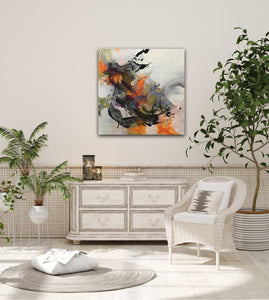 "Abstract expressionist art in modern white land house style living room - modern artwork ""Verve I"" A modern acrylic painting by abstract artist Anja Stemmer. Visit my Picture Shop for affordable art online: Buy abstract paintings, modern acrylic paintings and works of abstract art on canvas or paper online. My high quality abstract art designs are hand painted."