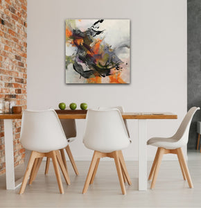 "Abstract expressionist art in a dining room  - modern artwork ""Verve I"" A modern acrylic painting by abstract artist Anja Stemmer. Visit my Picture Shop for affordable art online: Buy abstract paintings, modern acrylic paintings and works of abstract art on canvas or paper online. My high quality abstract art designs are hand painted."