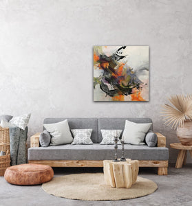 "Abstract expressionist art over grey sofa - modern artwork ""Verve I"" A modern acrylic painting by abstract artist Anja Stemmer. Visit my Picture Shop for affordable art online: Buy abstract paintings, modern acrylic paintings and works of abstract art on canvas or paper online. My high quality abstract art designs are hand painted."