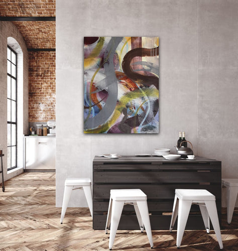 Abstract expressionist art in a loft style dining area- modern artwork