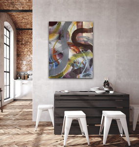 "Abstract expressionist art in a loft style dining area- modern artwork ""Junction"". A modern acrylic painting by abstract artist Anja Stemmer. Visit my Picture Shop for affordable art online: Buy abstract paintings, modern acrylic paintings and works of abstract art on canvas or paper online. My high quality abstract art designs are hand painted."