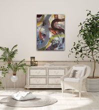 "Lade das Bild in den Galerie-Viewer, Abstract expressionist art in a living room with white furniture and plants- modern artwork ""Junction"". A modern acrylic painting by abstract artist Anja Stemmer. Visit my Picture Shop for affordable art online: Buy abstract paintings, modern acrylic paintings and works of abstract art on canvas or paper online. My high quality abstract art designs are hand painted."