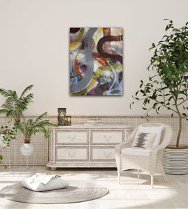 "Abstract expressionist art in a living room with white furniture and plants- modern artwork ""Junction"". A modern acrylic painting by abstract artist Anja Stemmer. Visit my Picture Shop for affordable art online: Buy abstract paintings, modern acrylic paintings and works of abstract art on canvas or paper online. My high quality abstract art designs are hand painted."