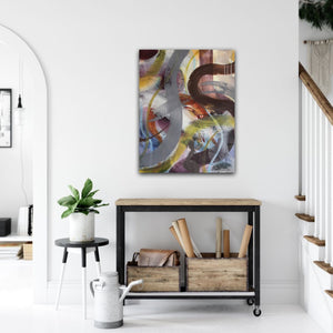 "Abstract expressionist art over a rolling sideboard - modern artwork ""Junction"". A modern acrylic painting by abstract artist Anja Stemmer. Visit my Picture Shop for affordable art online: Buy abstract paintings, modern acrylic paintings and works of abstract art on canvas or paper online. My high quality abstract art designs are hand painted."