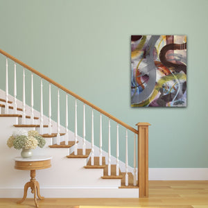 "Abstract expressionist art a staircase with light green colored wall- modern artwork ""Junction"". A modern acrylic painting by abstract artist Anja Stemmer. Visit my Picture Shop for affordable art online: Buy abstract paintings, modern acrylic paintings and works of abstract art on canvas or paper online. My high quality abstract art designs are hand painted."