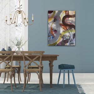 "Abstract expressionist art on a blue colored wall in a dining room- modern artwork ""Junction"". A modern acrylic painting by abstract artist Anja Stemmer. Visit my Picture Shop for affordable art online: Buy abstract paintings, modern acrylic paintings and works of abstract art on canvas or paper online. My high quality abstract art designs are hand painted."
