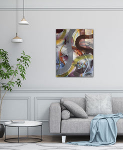 "Abstract expressionist art in living room with modern grey sofa- modern artwork ""Junction"". A modern acrylic painting by abstract artist Anja Stemmer. Visit my Picture Shop for affordable art online: Buy abstract paintings, modern acrylic paintings and works of abstract art on canvas or paper online. My high quality abstract art designs are hand painted."