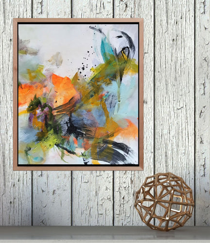 Abstract expressionist art in a shadow gap frame with home decor accessories- modern artwork