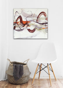 "Abstract expressionist art in modern interior with a white design chair and a basket - modern artwork ""Loft I"". A modern acrylic painting by abstract artist Anja Stemmer. Visit my Picture Shop for affordable art online: Buy abstract paintings, modern acrylic paintings and works of abstract art on canvas or paper online. My high quality abstract art designs are hand painted."