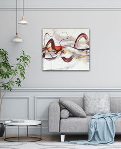 "Abstract expressionist art in contemporary living room with plant and grey sofa- modern artwork ""Loft I"". A modern acrylic painting by abstract artist Anja Stemmer. Visit my Picture Shop for affordable art online: Buy abstract paintings, modern acrylic paintings and works of abstract art on canvas or paper online. My high quality abstract art designs are hand painted."