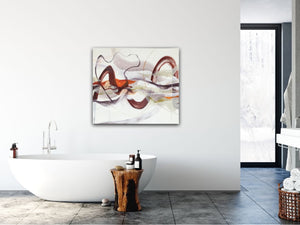 "Abstract expressionist art in a contemporary bathroom- modern artwork ""Loft I"". A modern acrylic painting by abstract artist Anja Stemmer. Visit my Picture Shop for affordable art online: Buy abstract paintings, modern acrylic paintings and works of abstract art on canvas or paper online. My high quality abstract art designs are hand painted."