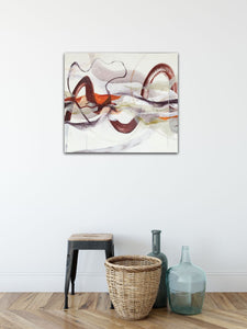 "Abstract expressionist art in a modern hallway with some vases - modern artwork ""Loft I"". A modern acrylic painting by abstract artist Anja Stemmer. Visit my Picture Shop for affordable art online: Buy abstract paintings, modern acrylic paintings and works of abstract art on canvas or paper online. My high quality abstract art designs are hand painted."