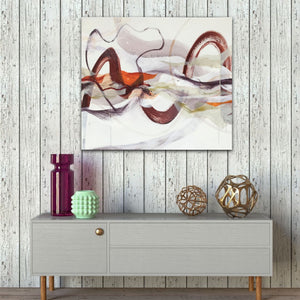 "Abstract expressionist art over a boho style sideboard and a rugged wall - modern artwork ""Loft I"". A modern acrylic painting by abstract artist Anja Stemmer. Visit my Picture Shop for affordable art online: Buy abstract paintings, modern acrylic paintings and works of abstract art on canvas or paper online. My high quality abstract art designs are hand painted."