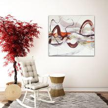 "Load image into Gallery viewer, Abstract expressionist art and a rocking chair with a red pot plant tree- modern artwork ""Loft I"". A modern acrylic painting by abstract artist Anja Stemmer. Visit my Picture Shop for affordable art online: Buy abstract paintings, modern acrylic paintings and works of abstract art on canvas or paper online. My high quality abstract art designs are hand painted."