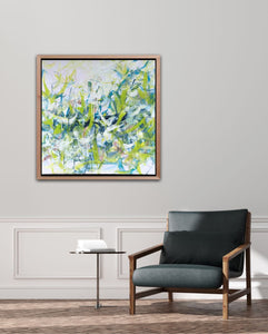 "Abstract expressionist art with a modern black armchair, artwork framed with wooden frame- modern artwork ""Hanging plants"". A modern acrylic painting by abstract artist Anja Stemmer. Visit my Picture Shop for affordable art online: Buy abstract paintings, modern acrylic paintings and works of abstract art on canvas or paper online. My high quality abstract art designs are hand painted."