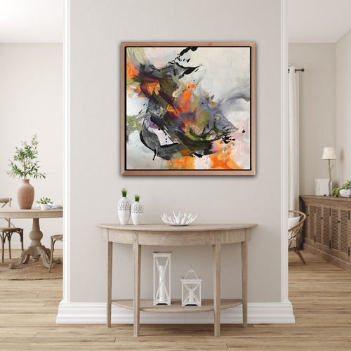 Abstract expressionist art over a sideboard in modern light living room - modern artwork