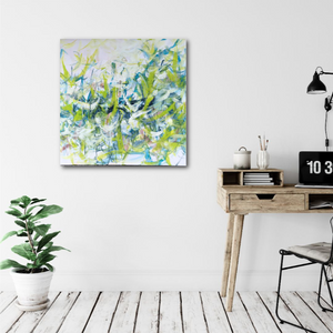 "Abstract expressionist art in a home office or corner office interior- modern artwork ""Hanging plants"". A modern acrylic painting by abstract artist Anja Stemmer. Visit my Picture Shop for affordable art online: Buy abstract paintings, modern acrylic paintings and works of abstract art on canvas or paper online. My high quality abstract art designs are hand painted."