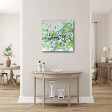 "Load image into Gallery viewer, Abstract expressionist art in land house style living room above a sideboard- modern artwork ""Hanging plants"". A modern acrylic painting by abstract artist Anja Stemmer. Visit my Picture Shop for affordable art online: Buy abstract paintings, modern acrylic paintings and works of abstract art on canvas or paper online. My high quality abstract art designs are hand painted."