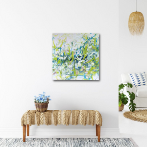 "Abstract expressionist art in a modern interior design styled living room and entrance area - modern artwork ""Hanging plants"". A modern acrylic painting by abstract artist Anja Stemmer. Visit my Picture Shop for affordable art online: Buy abstract paintings, modern acrylic paintings and works of abstract art on canvas or paper online. My high quality abstract art designs are hand painted."