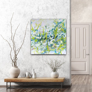 "Abstract expressionist art in a nordic design interior - modern artwork ""Hanging plants"". A modern acrylic painting by abstract artist Anja Stemmer. Visit my Picture Shop for affordable art online: Buy abstract paintings, modern acrylic paintings and works of abstract art on canvas or paper online. My high quality abstract art designs are hand painted."