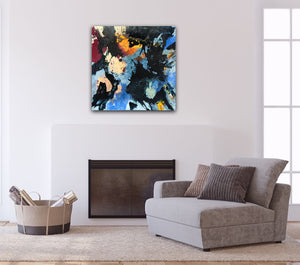 "Abstract expressionist art over the chimney of a contemporary living room- modern artwork ""Stormfront"". A modern acrylic painting by abstract artist Anja Stemmer. Visit my Picture Shop for affordable art online: Buy abstract paintings, modern acrylic paintings and works of abstract art on canvas or paper online. My high quality abstract art designs are hand painted."