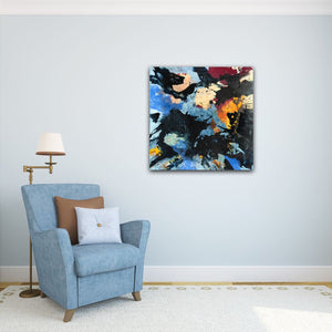 "Abstract expressionist art on a light blue wall with a blue armchair - modern artwork ""Stormfront"". A modern acrylic painting by abstract artist Anja Stemmer. Visit my Picture Shop for affordable art online: Buy abstract paintings, modern acrylic paintings and works of abstract art on canvas or paper online. My high quality abstract art designs are hand painted."