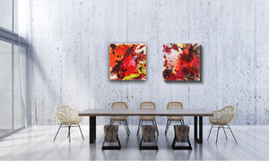"Abstract expressionist art in a meeting room of a contemporary office - modern artworks ""The heat is on I & II"". A modern acrylic painting by abstract artist Anja Stemmer. Visit my Picture Shop for affordable art online: Buy abstract paintings, modern acrylic paintings and works of abstract art on canvas or paper online. My high quality abstract art designs are hand painted."