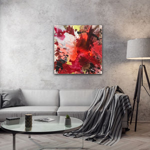 "Abstract expressionist art in a contemporary living room with concrete walls and grey sofa- modern artwork ""The heat is on II"". A modern acrylic painting by abstract artist Anja Stemmer. Visit my Picture Shop for affordable art online: Buy abstract paintings, modern acrylic paintings and works of abstract art on canvas or paper online. My high quality abstract art designs are hand painted."