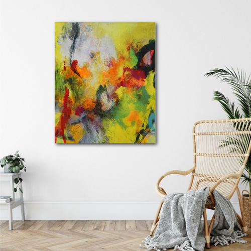 Abstract expressionist art in a living room with bamboo armchair- modern artwork