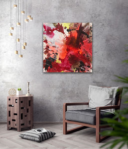 "Abstract expressionist art in a contemporary living room with grey chair - modern artwork ""The heat is on II"". A modern acrylic painting by abstract artist Anja Stemmer. Visit my Picture Shop for affordable art online: Buy abstract paintings, modern acrylic paintings and works of abstract art on canvas or paper online. My high quality abstract art designs are hand painted."