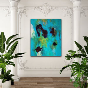 "Abstract expressionist art in a room with stucco on walls and ceiling and luscious plants- modern artwork  ""Nautilus"". A modern acrylic painting by abstract artist Anja Stemmer. Visit my Picture Shop for affordable art online: Buy abstract paintings, modern acrylic paintings and works of abstract art on canvas or paper online. My high quality abstract art designs are hand painted."