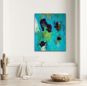 "Abstract expressionist art in a light colored modern living room- modern artwork  ""Nautilus"". A modern acrylic painting by abstract artist Anja Stemmer. Visit my Picture Shop for affordable art online: Buy abstract paintings, modern acrylic paintings and works of abstract art on canvas or paper online. My high quality abstract art designs are hand painted."