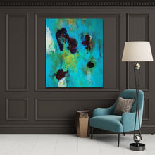 "Load image into Gallery viewer, Abstract expressionist art on a dark grey colored wall with a teal armchair - modern artwork  ""Nautilus"". A modern acrylic painting by abstract artist Anja Stemmer. Visit my Picture Shop for affordable art online: Buy abstract paintings, modern acrylic paintings and works of abstract art on canvas or paper online. My high quality abstract art designs are hand painted."