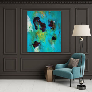 "Abstract expressionist art on a dark grey colored wall with a teal armchair - modern artwork  ""Nautilus"". A modern acrylic painting by abstract artist Anja Stemmer. Visit my Picture Shop for affordable art online: Buy abstract paintings, modern acrylic paintings and works of abstract art on canvas or paper online. My high quality abstract art designs are hand painted."
