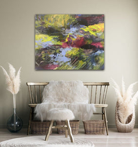 "Abstract expressionist artwork ""At the promenade"" in a relaxation room above a wooden sofa  - modern artwork. A modern acrylic painting by abstract artist Anja Stemmer. Visit my Picture Shop for affordable art online: Buy abstract paintings, modern acrylic paintings and works of abstract art on canvas or paper online. My high quality abstract art designs are hand painted."
