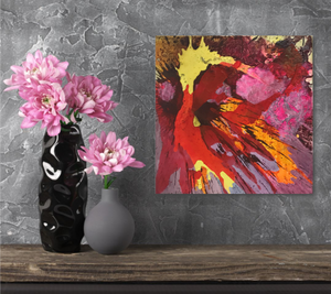 "Abstract expressionist art on a grey wall with pink flowers - modern artwork. ""Upsurge"" A modern acrylic painting by abstract artist Anja Stemmer. Visit my Picture Shop for affordable art online: Buy abstract paintings, modern acrylic paintings and works of abstract art on canvas or paper online. My high quality abstract art designs are hand painted."