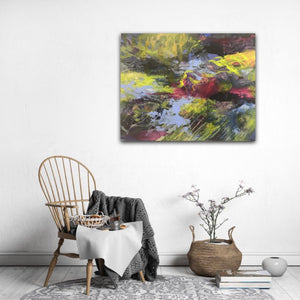 "Abstract expressionist artwork ""At the promenade"" in a cozy setting with armchair and breakfast- modern artwork. A modern acrylic painting by abstract artist Anja Stemmer. Visit my Picture Shop for affordable art online: Buy abstract paintings, modern acrylic paintings and works of abstract art on canvas or paper online. My high quality abstract art designs are hand painted."