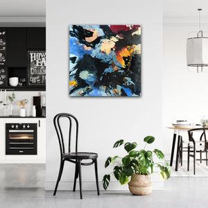 "Abstract expressionist art in a black and white kitchen and dining room - modern artwork ""Stormfront"". A modern acrylic painting by abstract artist Anja Stemmer. Visit my Picture Shop for affordable art online: Buy abstract paintings, modern acrylic paintings and works of abstract art on canvas or paper online. My high quality abstract art designs are hand painted."