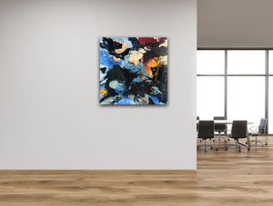 "Abstract expressionist art in a modern design office building's floor- modern artwork ""Stormfront"". A modern acrylic painting by abstract artist Anja Stemmer. Visit my Picture Shop for affordable art online: Buy abstract paintings, modern acrylic paintings and works of abstract art on canvas or paper online. My high quality abstract art designs are hand painted."