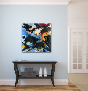 "Abstract expressionist art on a light blue colored wall in a modern home- modern artwork ""Stormfront"". A modern acrylic painting by abstract artist Anja Stemmer. Visit my Picture Shop for affordable art online: Buy abstract paintings, modern acrylic paintings and works of abstract art on canvas or paper online. My high quality abstract art designs are hand painted."