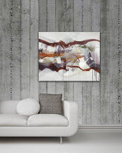 "Load image into Gallery viewer, Abstract expressionist art on a concrete wall over white sofa- modern artwork ""Loft IV"". A modern acrylic painting by abstract artist Anja Stemmer. Visit my Picture Shop for affordable art online: Buy abstract paintings, modern acrylic paintings and works of abstract art on canvas or paper online. My high quality abstract art designs are hand painted."
