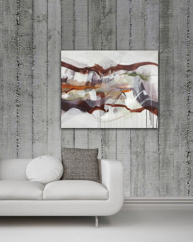 Abstract expressionist art on a concrete wall over white sofa- modern artwork