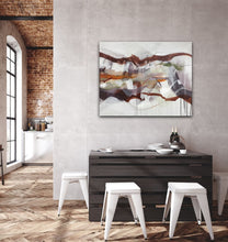"Load image into Gallery viewer, Abstract expressionist art in a Loft dining area - modern artwork ""Loft IV"". A modern acrylic painting by abstract artist Anja Stemmer. Visit my Picture Shop for affordable art online: Buy abstract paintings, modern acrylic paintings and works of abstract art on canvas or paper online. My high quality abstract art designs are hand painted."
