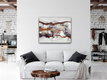 "Load image into Gallery viewer, Abstract expressionist art over a cozy white sofa  - modern artwork ""Loft IV"". A modern acrylic painting by abstract artist Anja Stemmer. Visit my Picture Shop for affordable art online: Buy abstract paintings, modern acrylic paintings and works of abstract art on canvas or paper online. My high quality abstract art designs are hand painted."