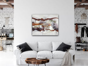 "Abstract expressionist art over a cozy white sofa  - modern artwork ""Loft IV"". A modern acrylic painting by abstract artist Anja Stemmer. Visit my Picture Shop for affordable art online: Buy abstract paintings, modern acrylic paintings and works of abstract art on canvas or paper online. My high quality abstract art designs are hand painted."