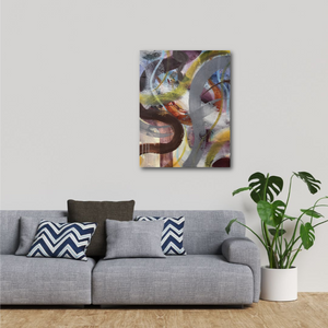 "Abstract expressionist art above a grey sofa- modern artwork ""Junction"". A modern acrylic painting by abstract artist Anja Stemmer. Visit my Picture Shop for affordable art online: Buy abstract paintings, modern acrylic paintings and works of abstract art on canvas or paper online. My high quality abstract art designs are hand painted."