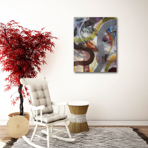 "Abstract expressionist art in modern interior design room wth red plant- modern artwork ""Junction"". A modern acrylic painting by abstract artist Anja Stemmer. Visit my Picture Shop for affordable art online: Buy abstract paintings, modern acrylic paintings and works of abstract art on canvas or paper online. My high quality abstract art designs are hand painted."