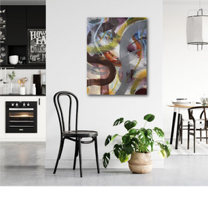 "Abstract expressionist art in a kitchen and dining room with black and white design- modern artwork ""Junction"". A modern acrylic painting by abstract artist Anja Stemmer. Visit my Picture Shop for affordable art online: Buy abstract paintings, modern acrylic paintings and works of abstract art on canvas or paper online. My high quality abstract art designs are hand painted."